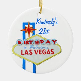 Cumpleaños de la edad 21 de Las Vegas Adorno Redondo De Cerámica