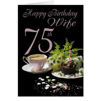 Cumpleaños de la esposa 75 - esposa de la tarjeta