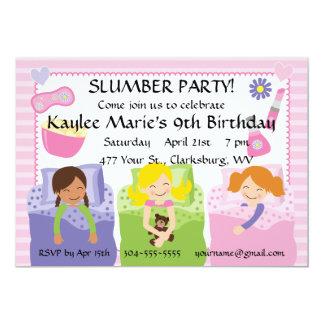 Cumpleaños de la fiesta de pijamas invitación 12,7 x 17,8 cm