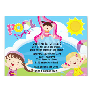 Cumpleaños de la fiesta en la piscina de los invitación 12,7 x 17,8 cm