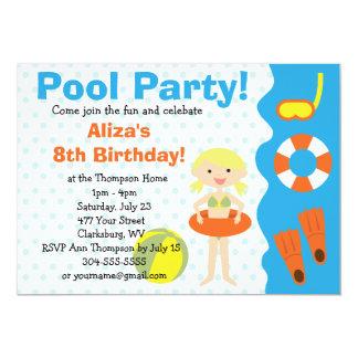 Cumpleaños de la fiesta en la piscina del chica comunicado