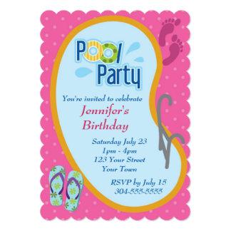 Cumpleaños de la fiesta en la piscina del invitaciones personalizada