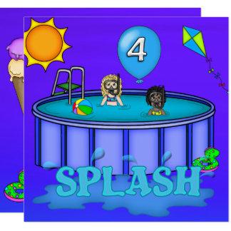 Cumpleaños de la fiesta en la piscina del invitación 13,3 cm x 13,3cm