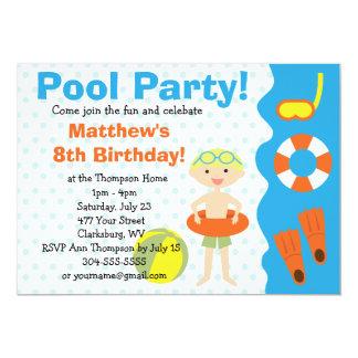 Cumpleaños de la fiesta en la piscina del muchacho anuncios personalizados