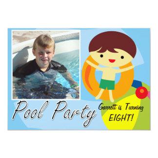 Cumpleaños de la fiesta en la piscina del muchacho invitación 12,7 x 17,8 cm