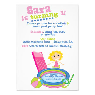 Cumpleaños de la fiesta en la piscina invitaciones personalizada