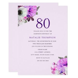 Cumpleaños de la flor púrpura elegante del vintage invitación 12,7 x 17,8 cm