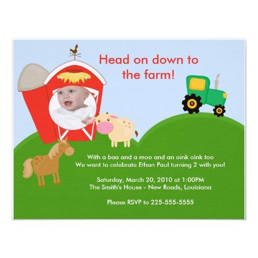 Cumpleaños de la granja comunicados personalizados