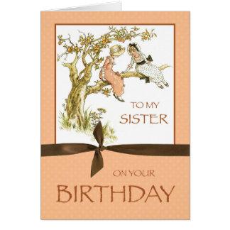 Cumpleaños de la hermana, chicas del vintage en el tarjeta de felicitación