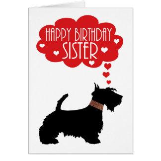 Cumpleaños de la hermana con el escocés Terrier de Tarjeta