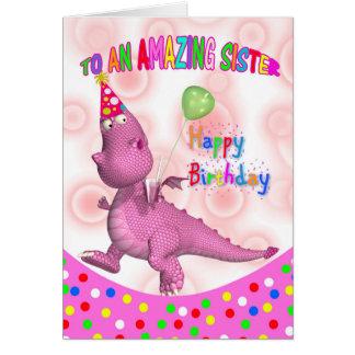 Cumpleaños de la hermana con la bebida y el globo tarjeta de felicitación