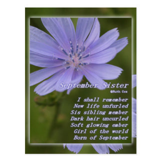 Cumpleaños de la hermana de septiembre tarjeta postal
