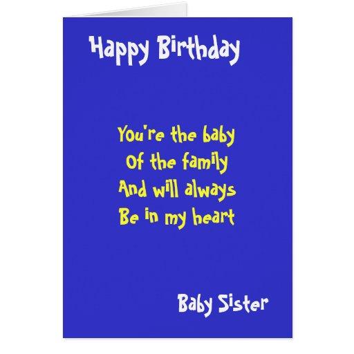 Cumpleaños de la hermana del bebé felicitación