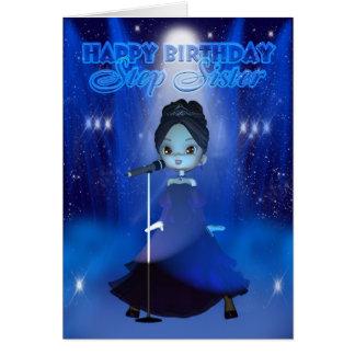 Cumpleaños de la hermana del paso feliz que canta tarjetas