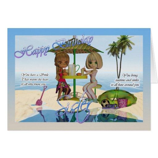 Cumpleaños de la hermana, vida de la playa de la c tarjetón