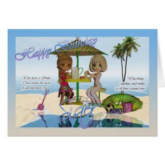 Cumpleaños de la hermana, vida de la playa de la tarjeta de felicitación