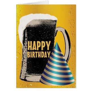 Cumpleaños de la hora feliz de la cerveza feliz tarjeta pequeña