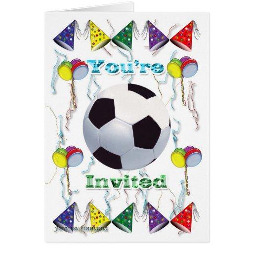 Cumpleaños de la invitación del fútbol tarjetón