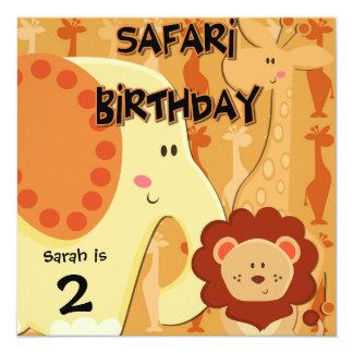 Cumpleaños de la jirafa del elefante del león de invitación 13,3 cm x 13,3cm