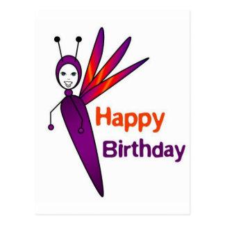 Cumpleaños de la luciérnaga de la dicha feliz postal