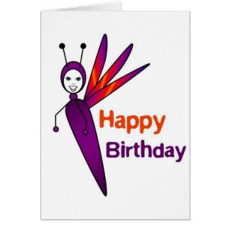 Cumpleaños de la luciérnaga de la dicha feliz tarjeta de felicitación