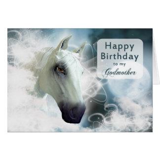 Cumpleaños de la madrina, caballo árabe tarjeta de felicitación