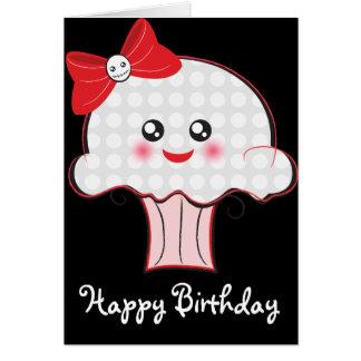 Cumpleaños de la magdalena del cráneo de Kawaii Tarjeta De Felicitación