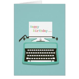 Cumpleaños de la máquina de escribir tarjeta de felicitación