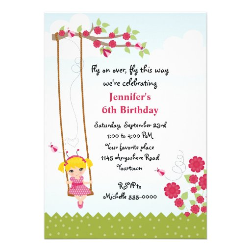 Cumpleaños de la mariquita del chica rubio invitaciones personales