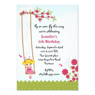 Cumpleaños de la mariquita del chica rubio invitación 12,7 x 17,8 cm