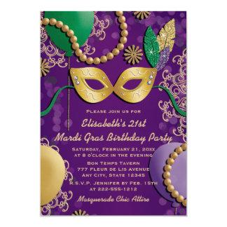 Cumpleaños de la máscara del carnaval invitación 12,7 x 17,8 cm