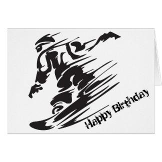 Cumpleaños de la montaña de la snowboard de la tarjeta de felicitación