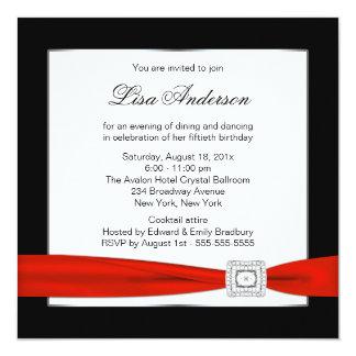Cumpleaños de la mujer con clase de la joya roja invitación 13,3 cm x 13,3cm