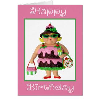 Cumpleaños de la mujer de la torta feliz tarjeta de felicitación