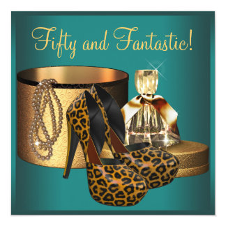 Cumpleaños de la mujer del oro del leopardo del invitación 13,3 cm x 13,3cm