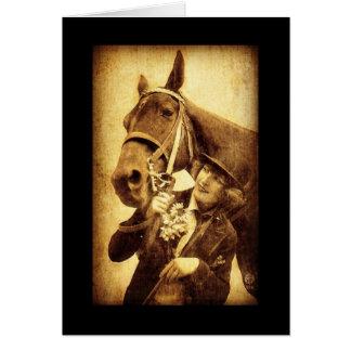 Cumpleaños de la mujer y del caballo del vintage tarjeta pequeña