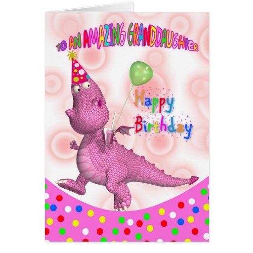 Cumpleaños de la nieta con soda rosada del dragón tarjeton