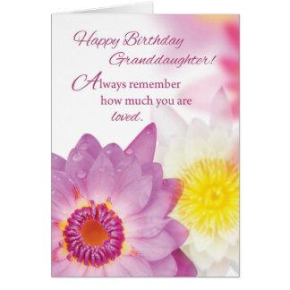 Cumpleaños de la nieta, flores, religiosas tarjeta