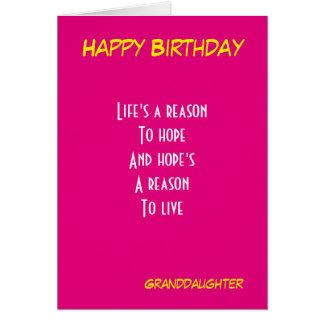 Cumpleaños de la nieta tarjeta de felicitación