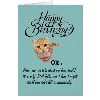 Cumpleaños de la perspectiva de un gato (tarjeta tarjeta