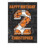Cumpleaños de la pizarra del baloncesto 2do tarjeta