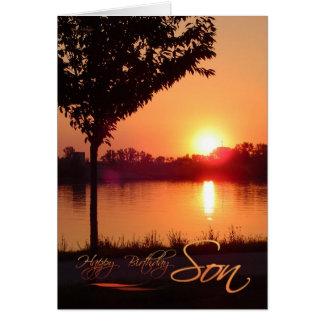 Cumpleaños de la puesta del sol para el hijo tarjeta