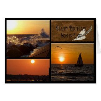 Cumpleaños de la puesta del sol para el yerno tarjeta