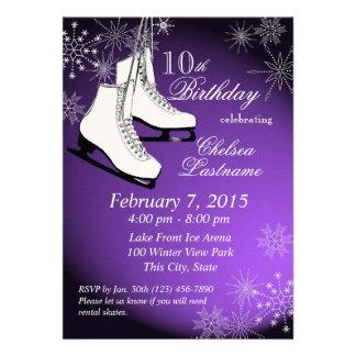 Cumpleaños de la púrpura de los patines y de los c anuncio personalizado