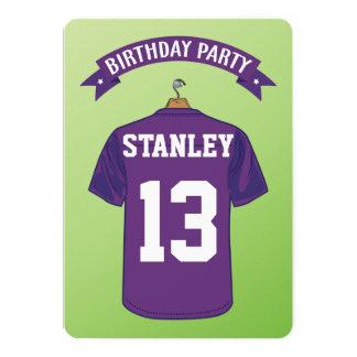 Cumpleaños de la púrpura del jersey del fútbol invitación 12,7 x 17,8 cm