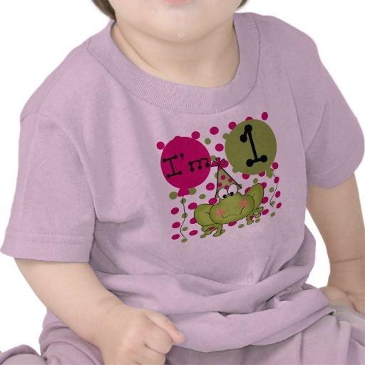 Cumpleaños de la rana de los chicas primer camiseta
