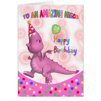 Cumpleaños de la sobrina con la bebida y el globo tarjeta de felicitación