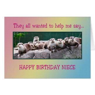 Cumpleaños de la sobrina con las nutrias tarjetón