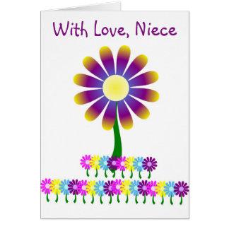 Cumpleaños de la sobrina de las flores tarjeta de felicitación