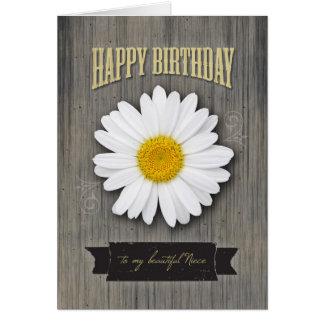 Cumpleaños de la sobrina, madera rústica y diseño tarjeta de felicitación